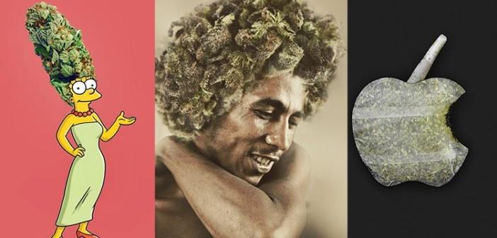 Artysta Odświeża Znane Portrety, Obrazki i Logo za Pomocą Marihuany, haszysz.info